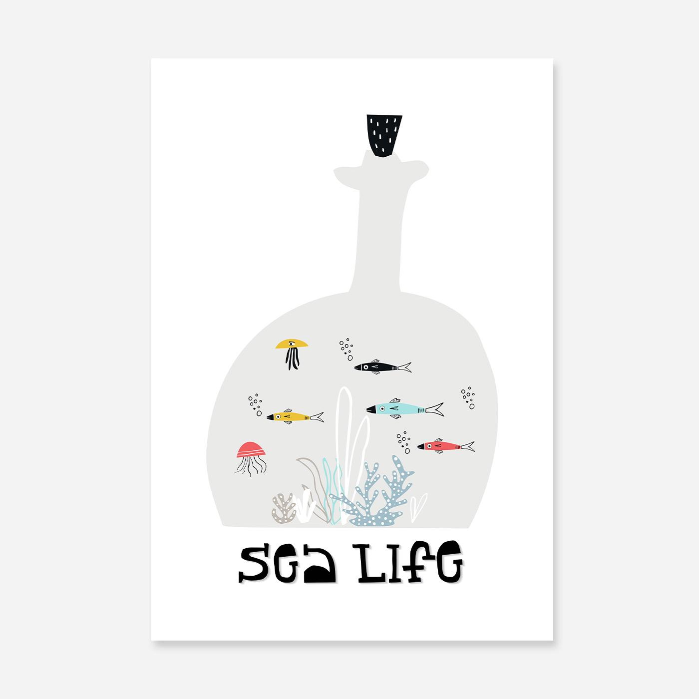 Sealife print with fish swimming.
