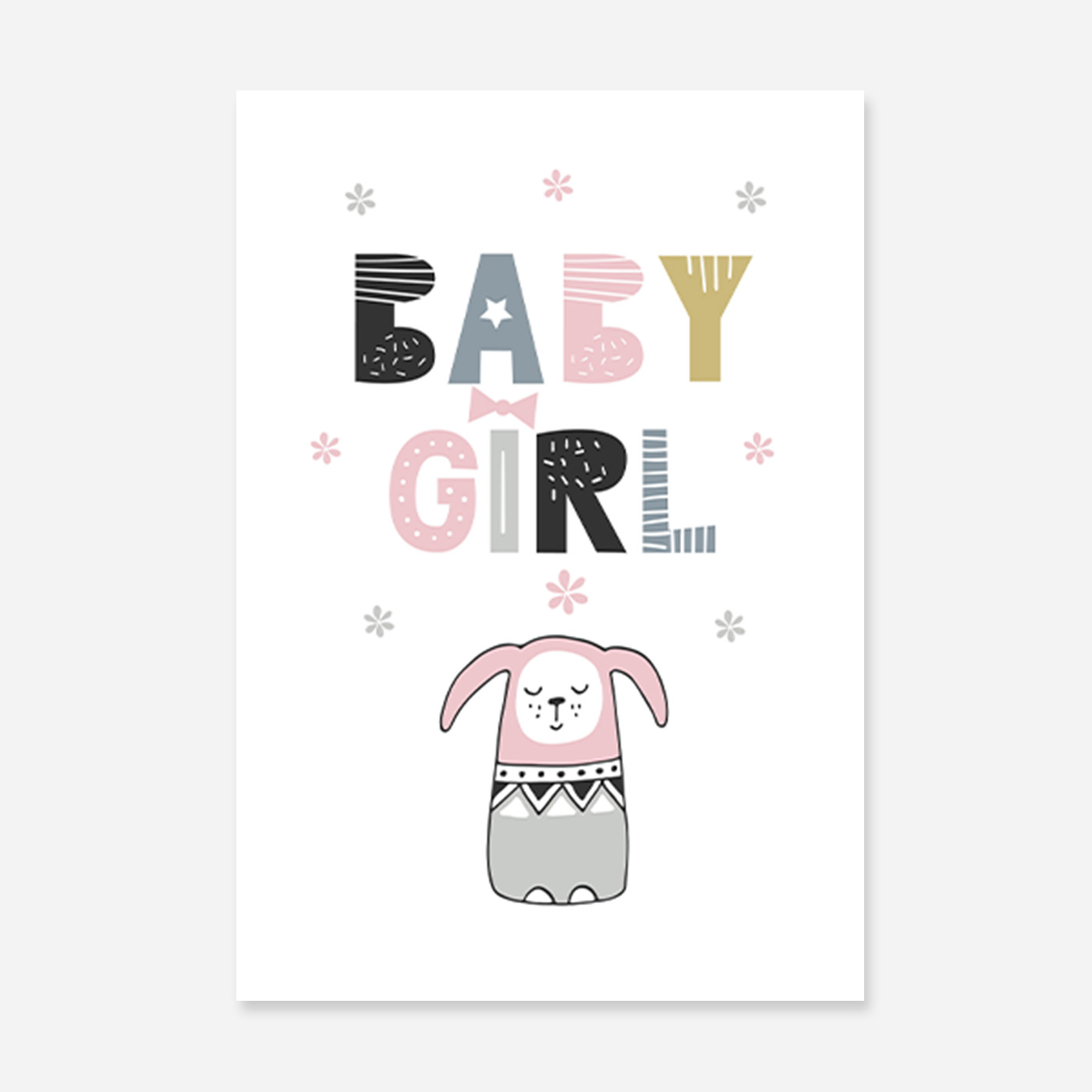 Baby girl print with a cute pink bunny.
