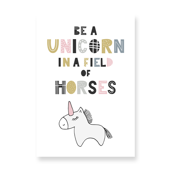 baby unicorn with a pink horn.