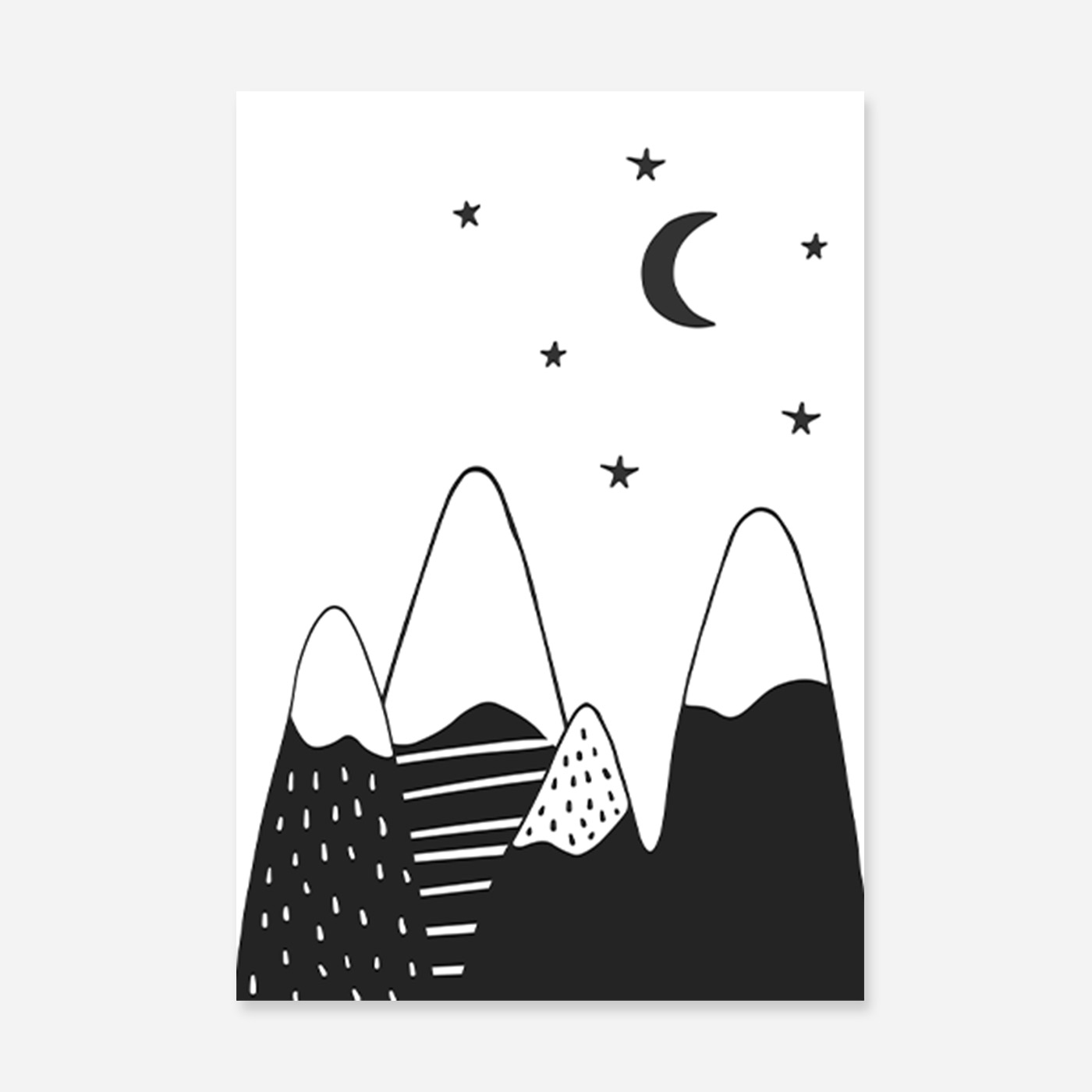 back and white mountains on a starry night.