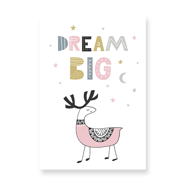cute deer illustration perfect for a girls' bedroom.