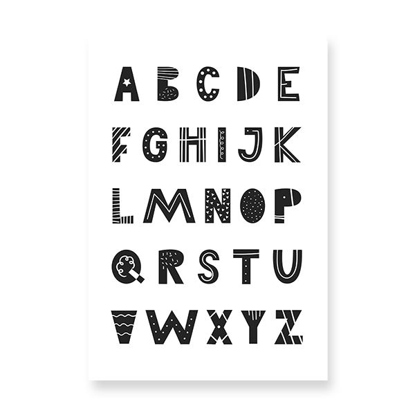 alphabet from A to Z with cute black letters.
