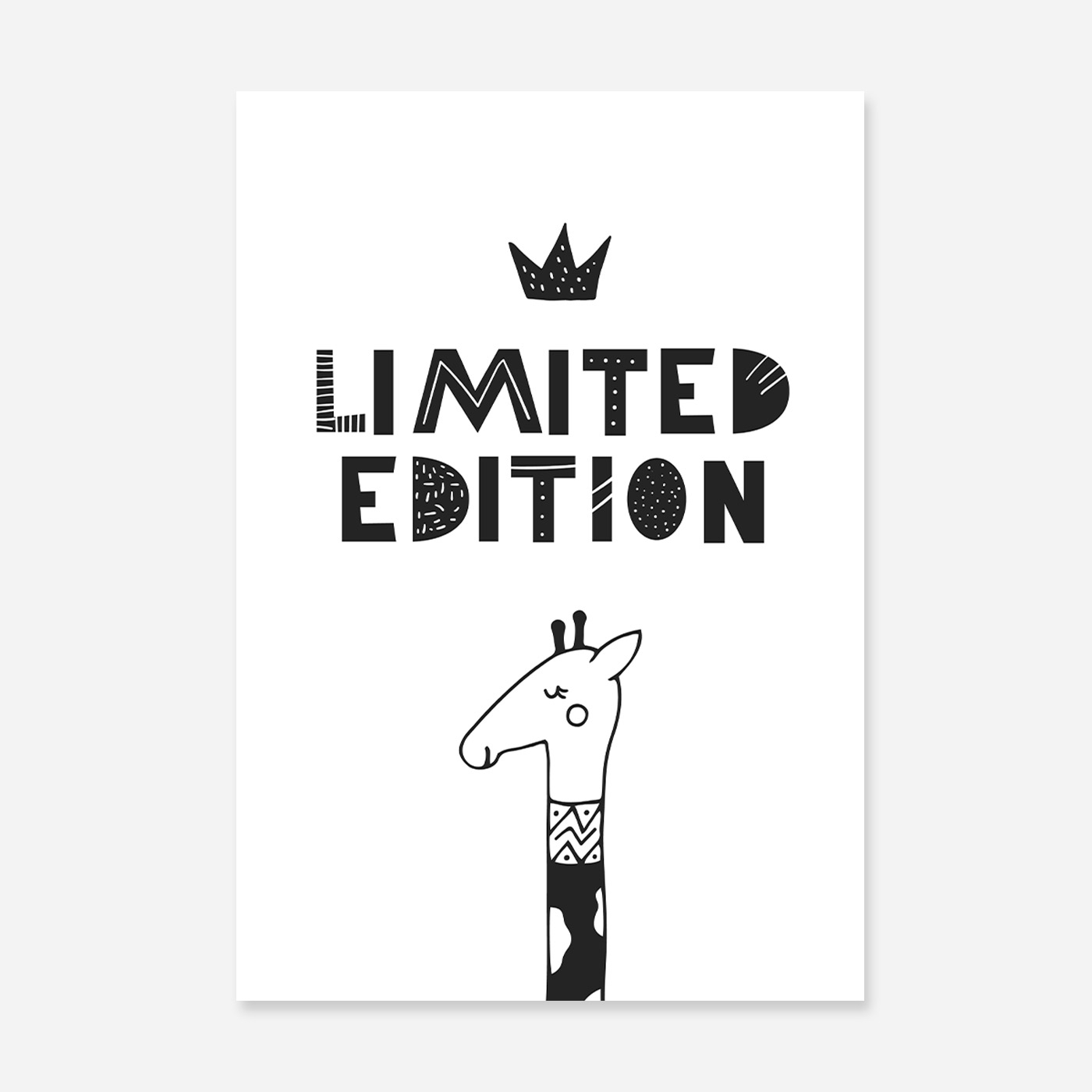 illustrated giraffe with head pocking from the bottom of the artwork in black and white.