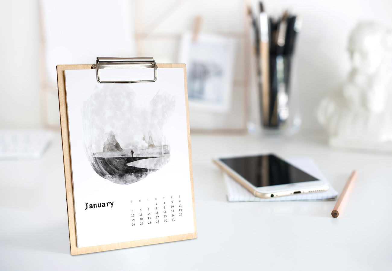 Handcrafted wooden desk and wall calendars.