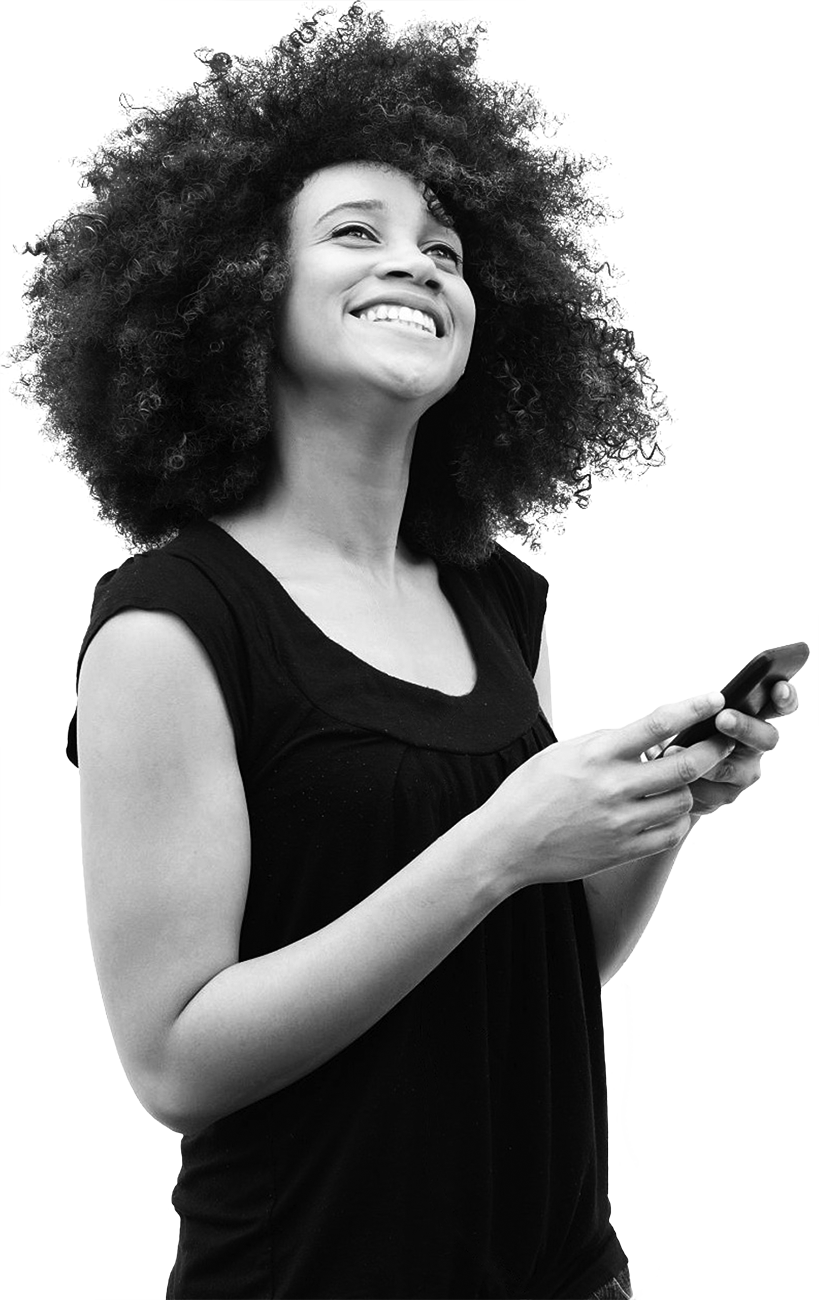 African American woman holding mobile phone