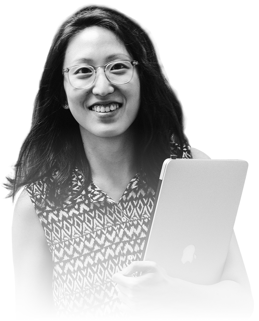 Young Asian woman holding laptop smiling
