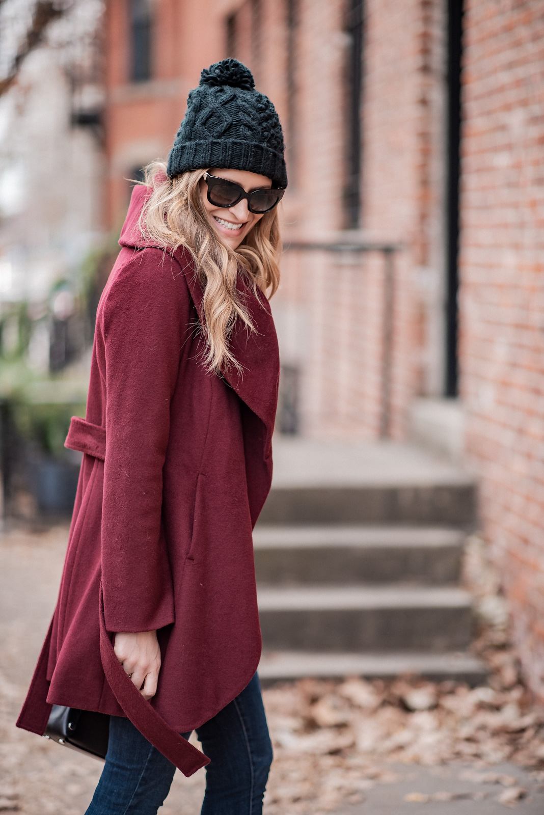 Laura Behnke The Life Actually Company Burgundy Tahari Shawl Wrap Coat