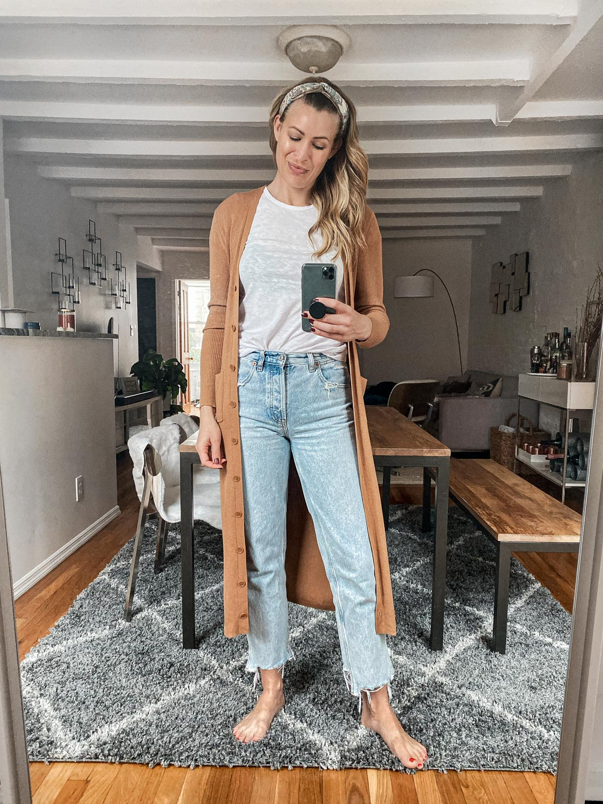 Laura Behnke The Life Actually Company What I Really Wore Abercrombie jeans, Naadam Cardigan