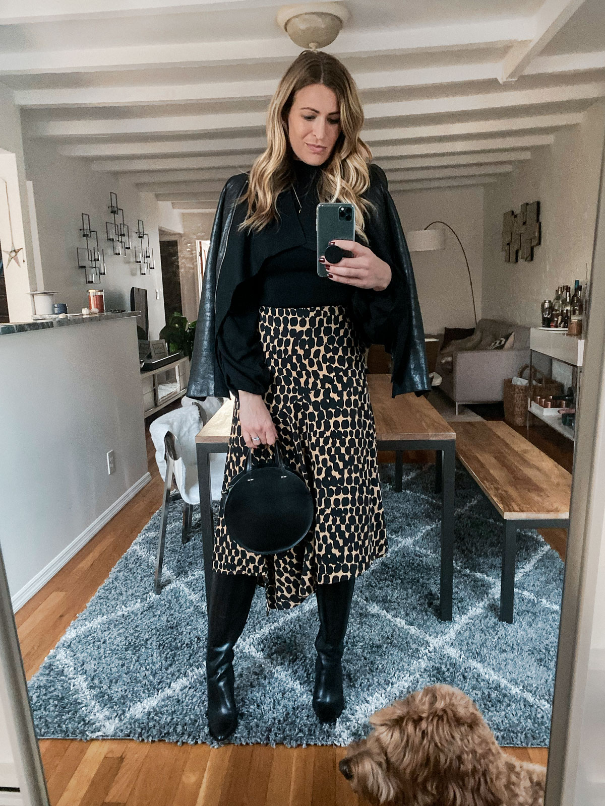 Laura Behnke The Life Actually Company What I Really Wore Mackage leather jacket, leopard skirt