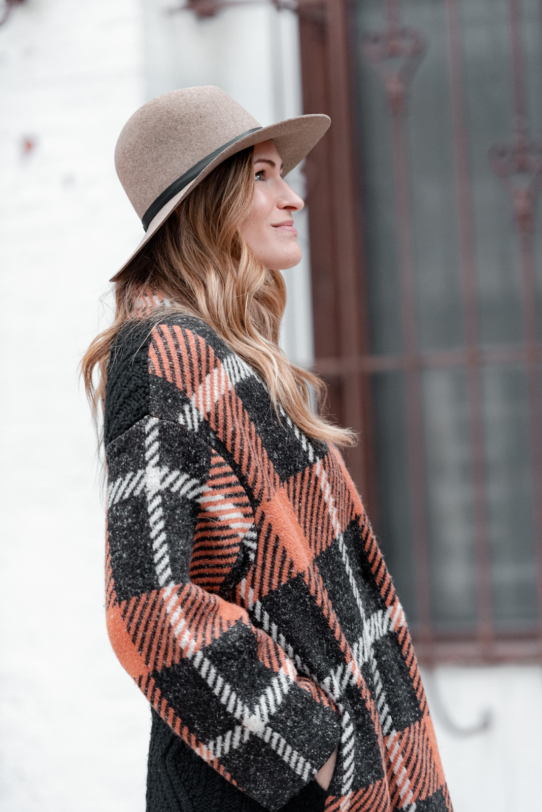 Laura Behnke The Life Actually Company (nude) Sweater jacket, Janessa Leone hat
