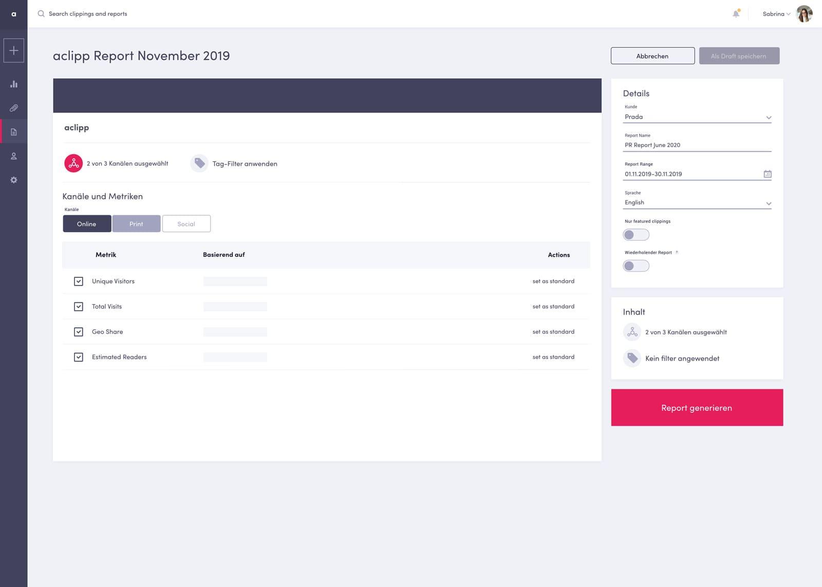 Screenshot of aclipp PR Report Generator