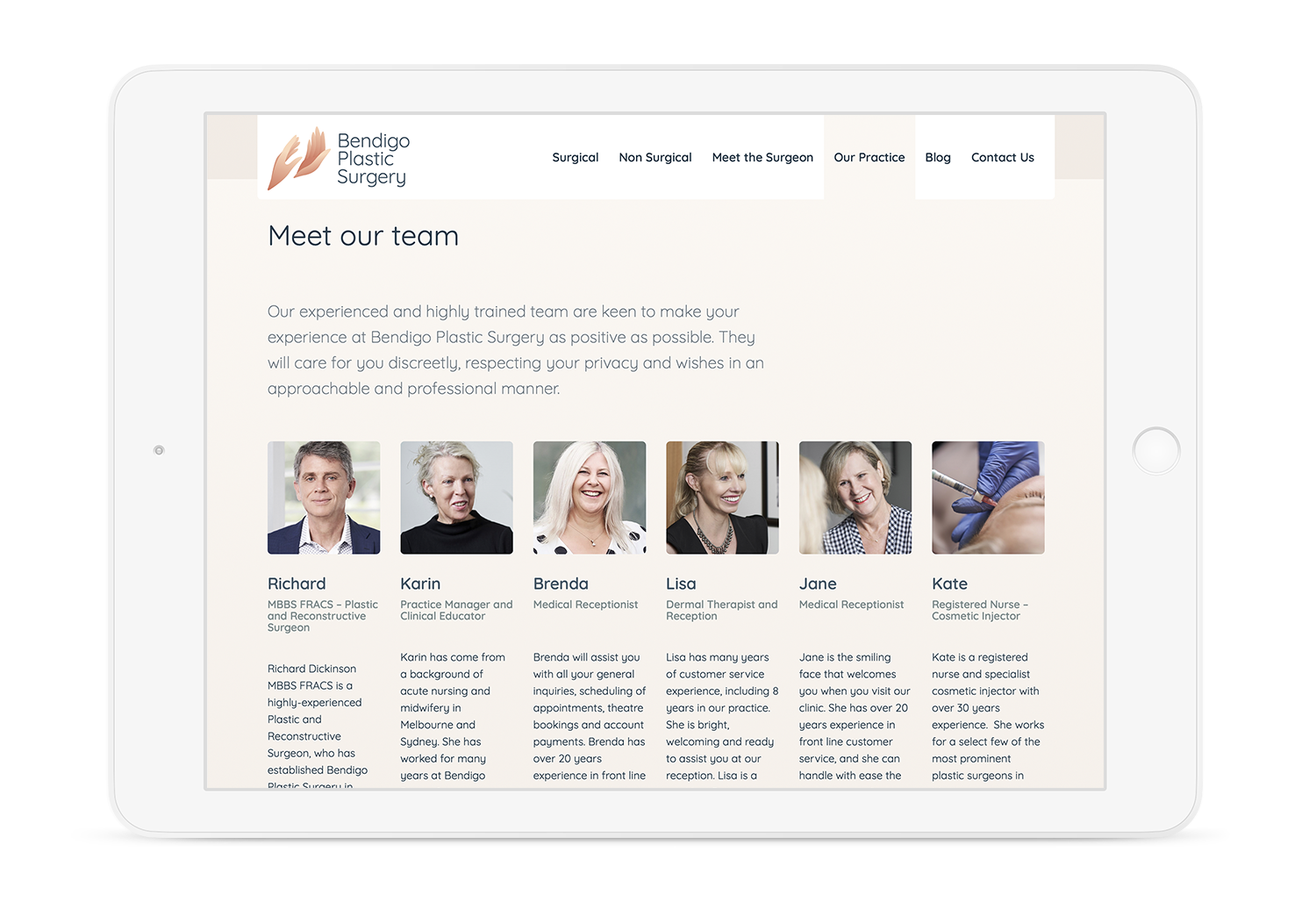 Bendigo Plastic Surgery Website Our Practice Page Team List on iPad