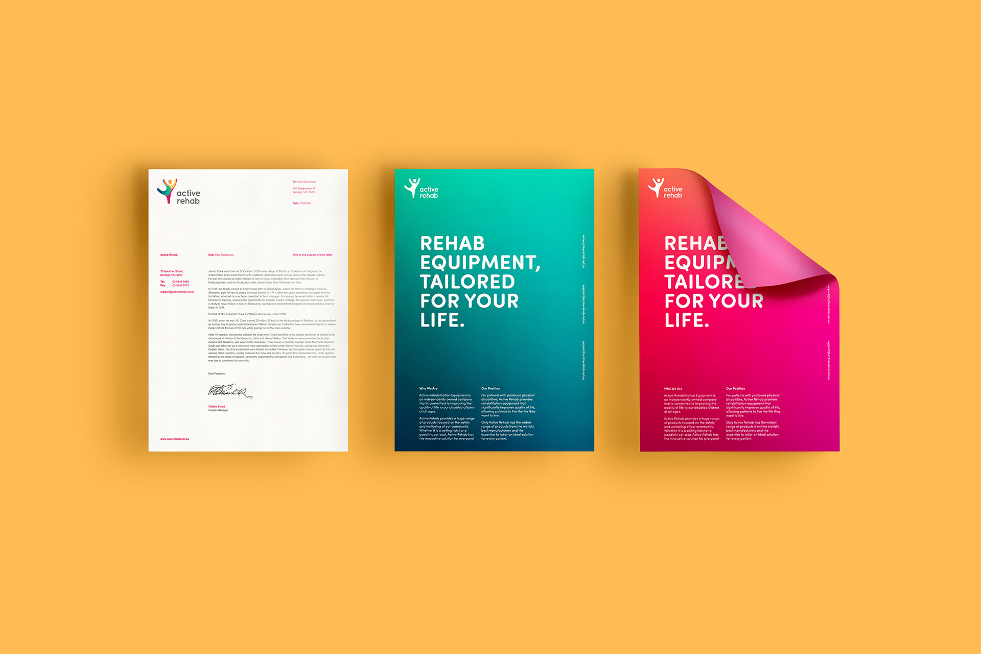 Active Rehab Brand Style Guide Stationery Design