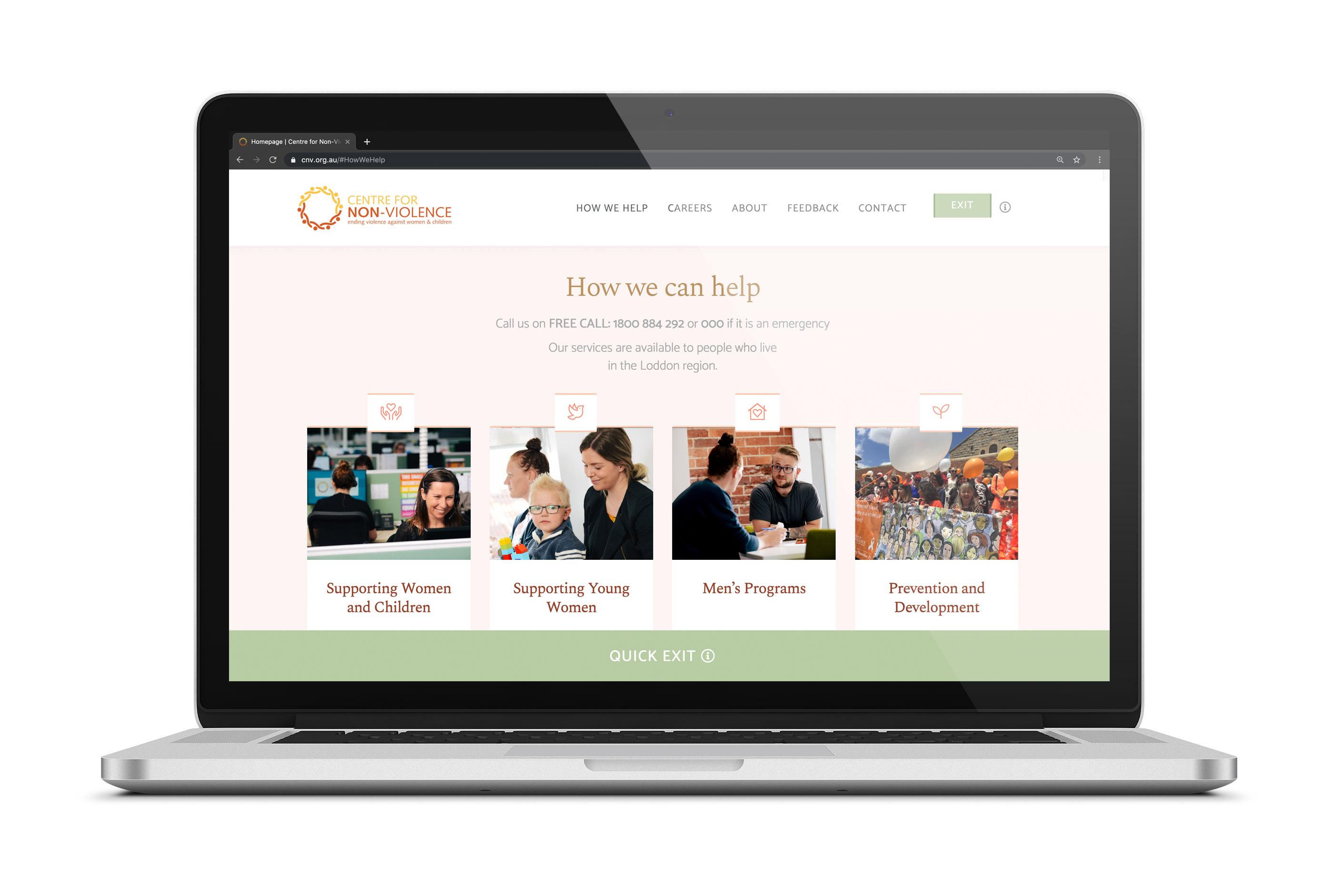Website home page design by Bendigo agency