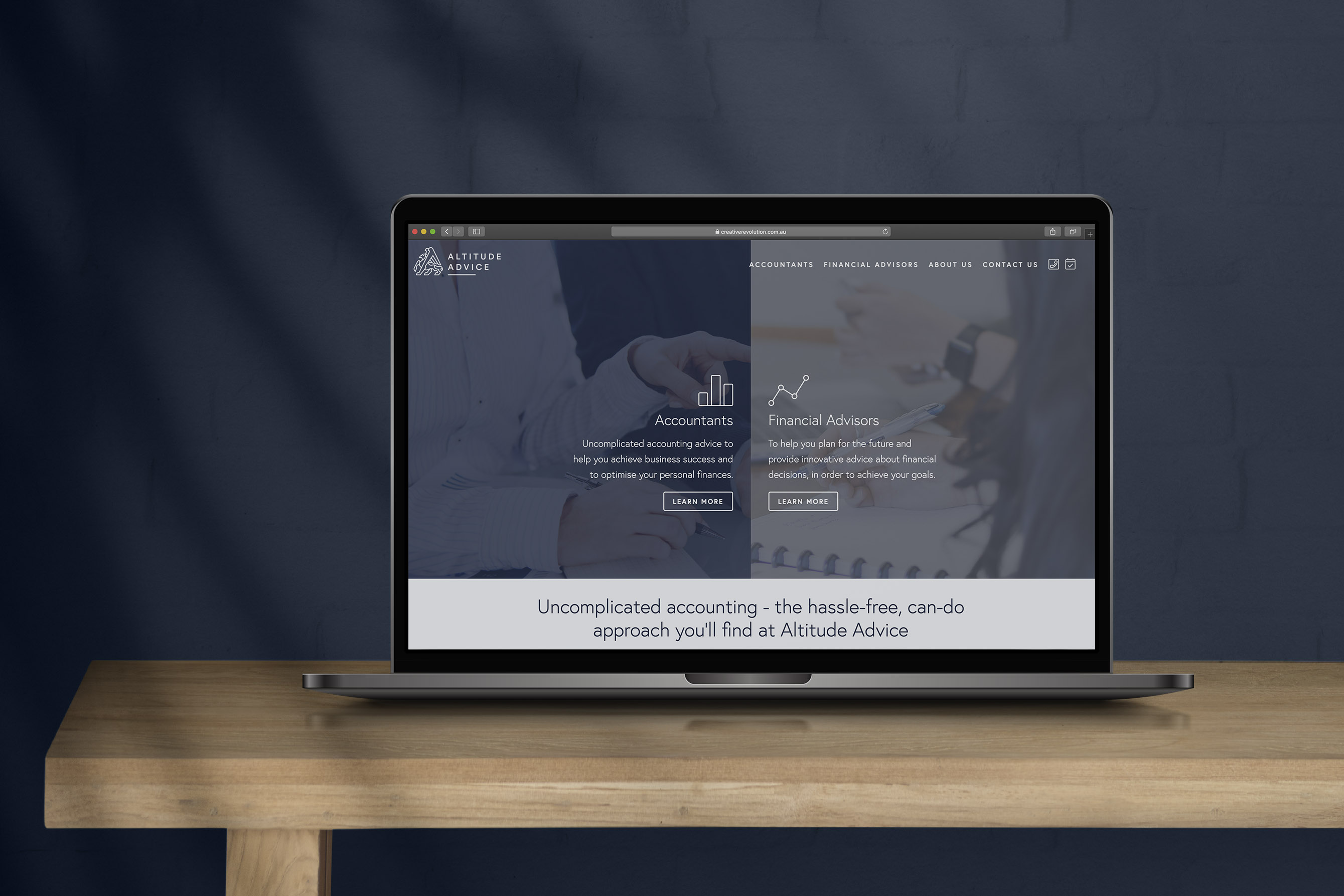 Altitude Advice financial services logo and website design