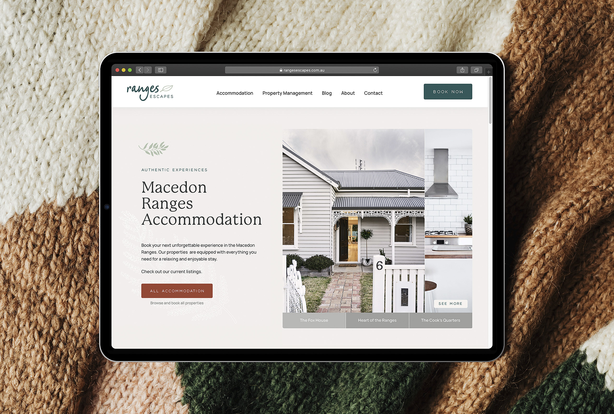 Ranges Escapes website design and Lodgify booking platform