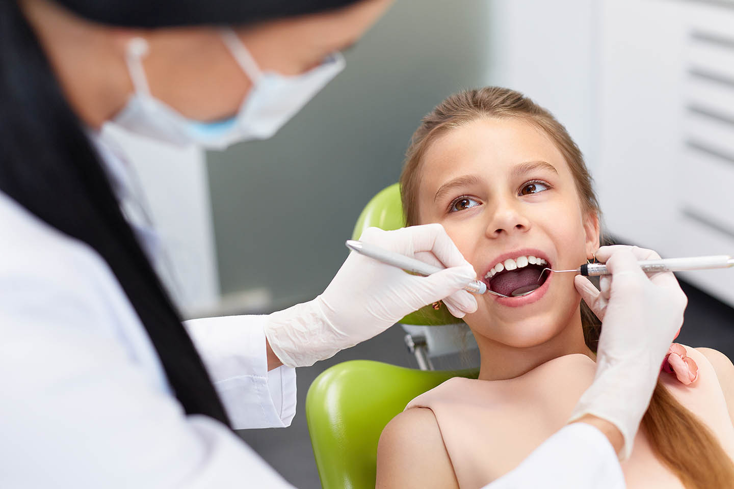 A child getting dental care