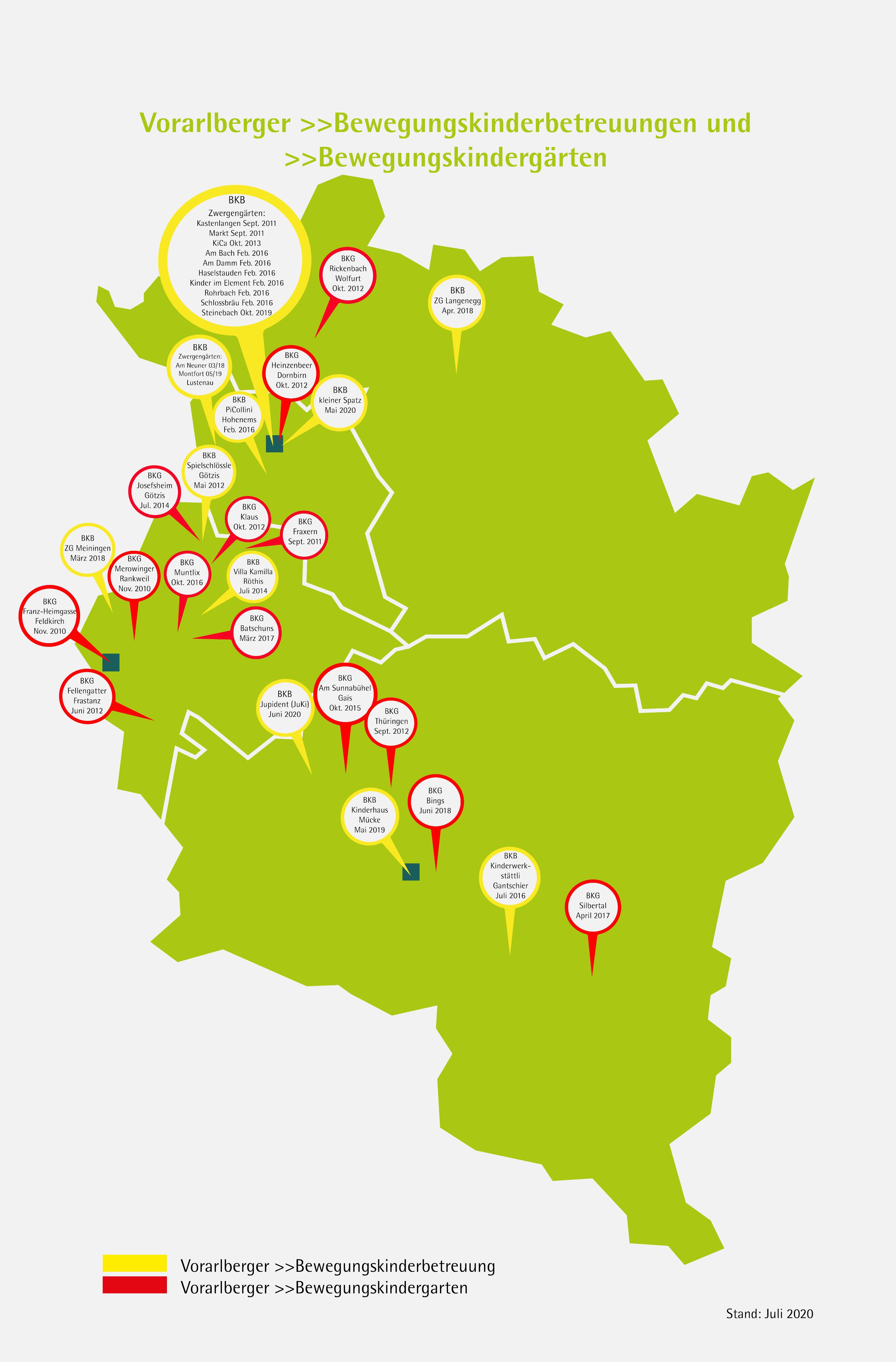 Vorarlberger Bewegungseinrichtungen im Überblick