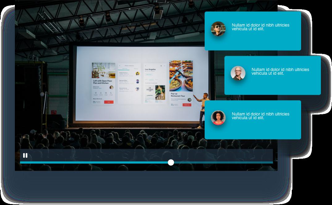 Mockup of audience feedback superimposed over a keynote presentation