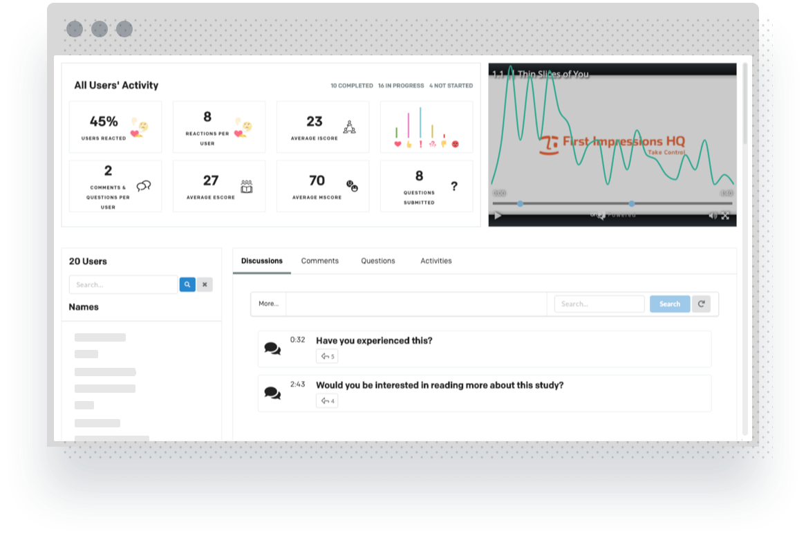 Mockup of the onQ dashboard with analytics of audience engagement