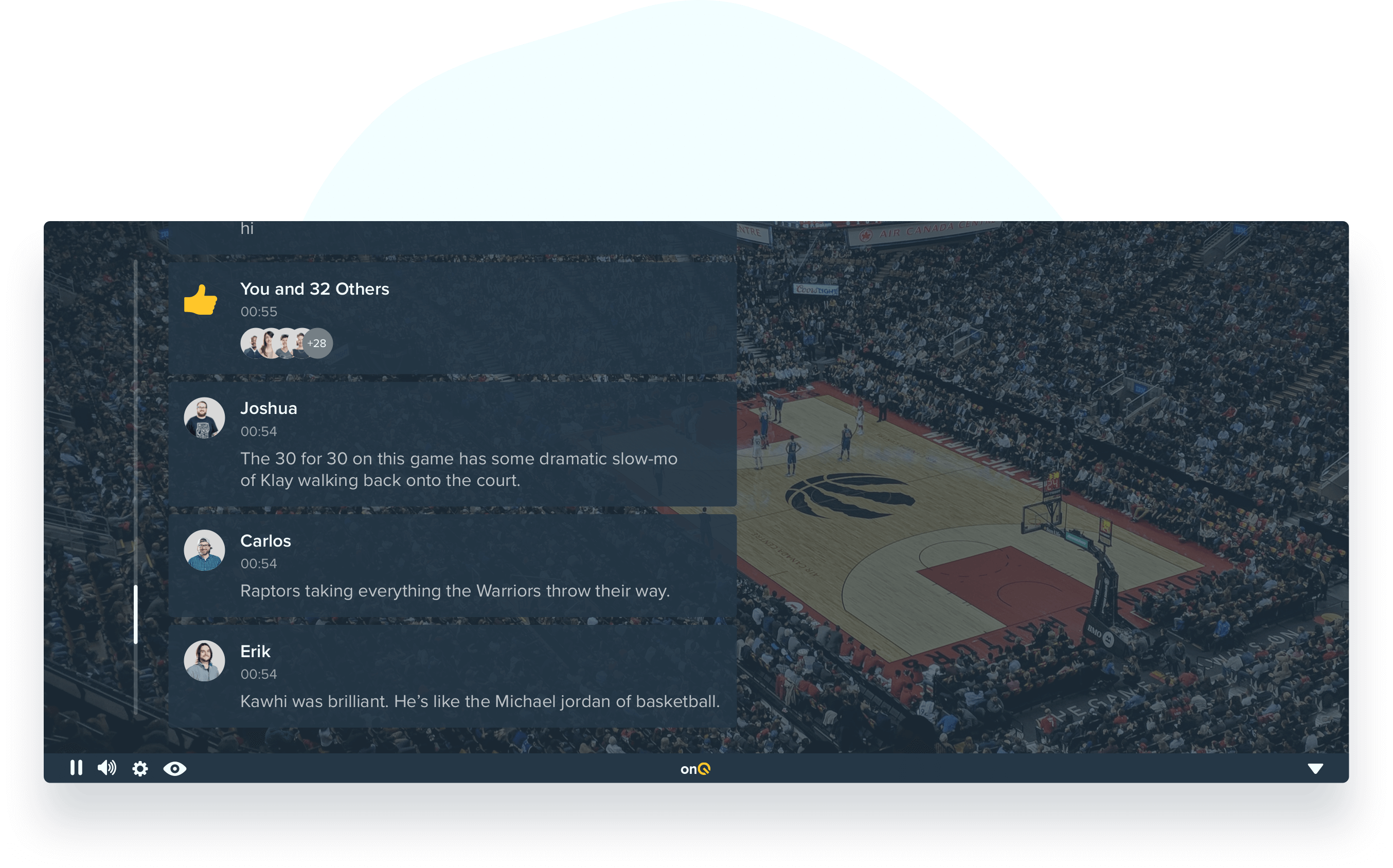 Mockup of the onQ's online hangout feature