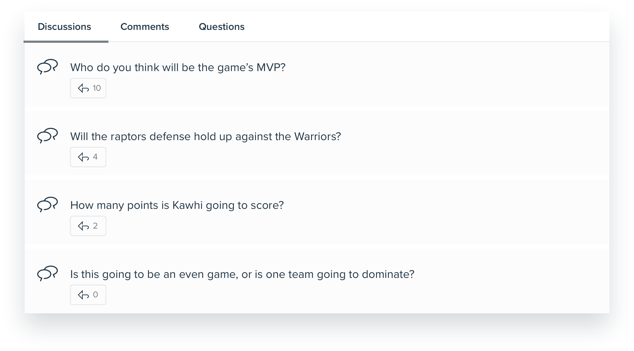 Mockup of onQ's discussion feature