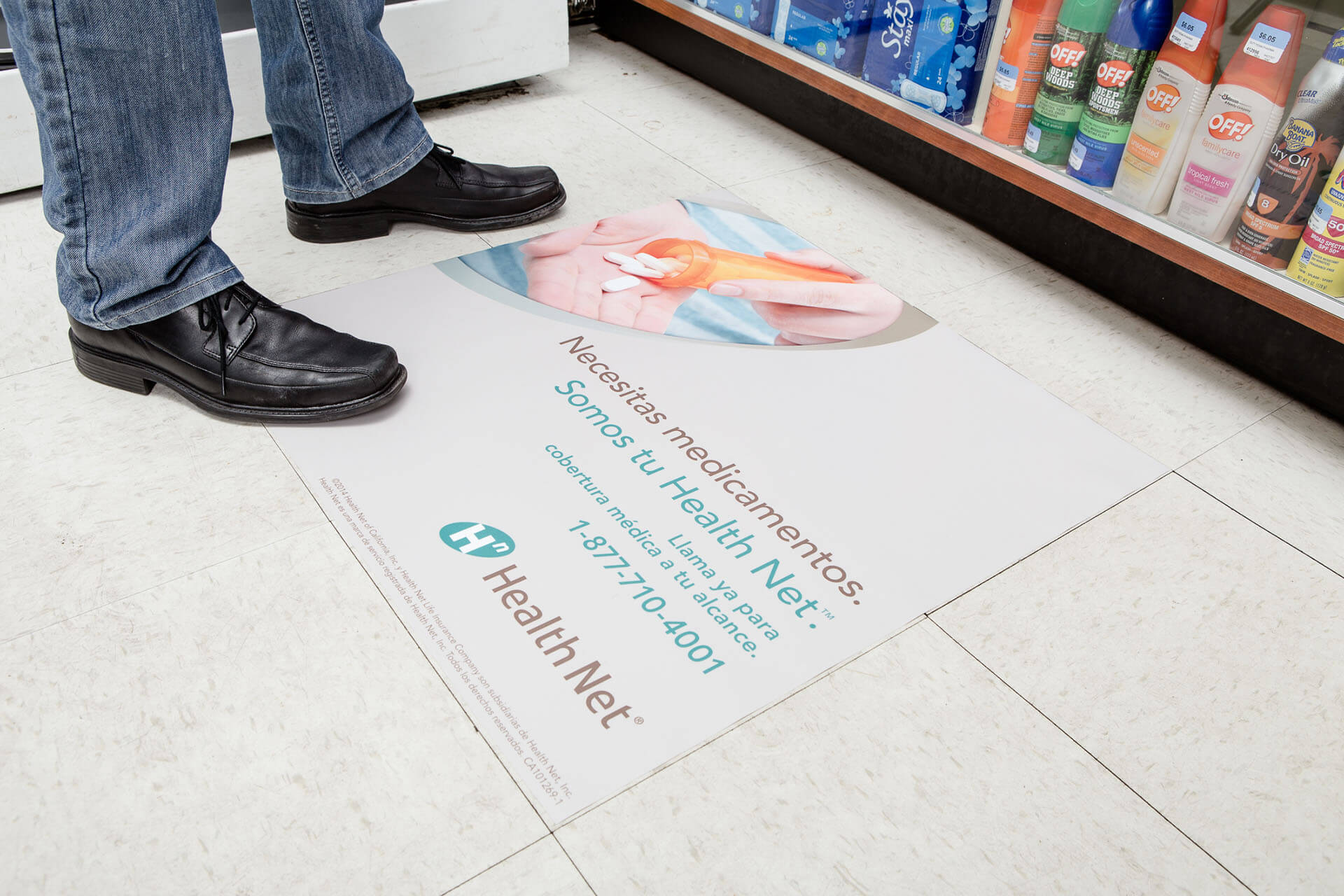 pharmacy advertising with floor decals
