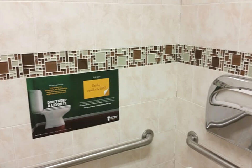 restroom signage advertising in doctors offices