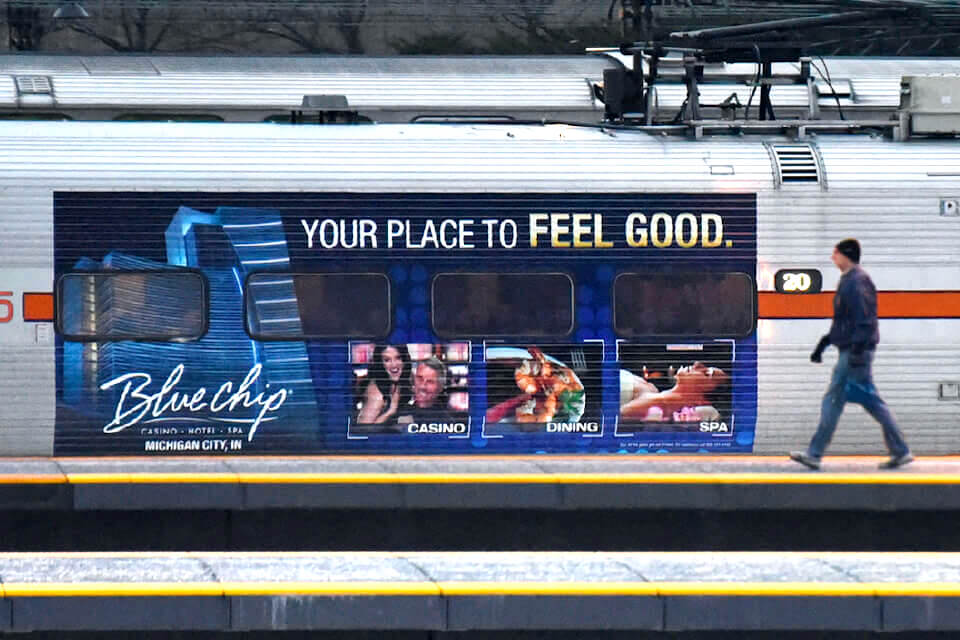 commuter rail advertising with train wraps