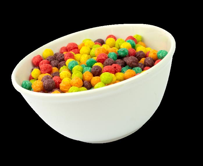 tazón de bolas de cereales de colores