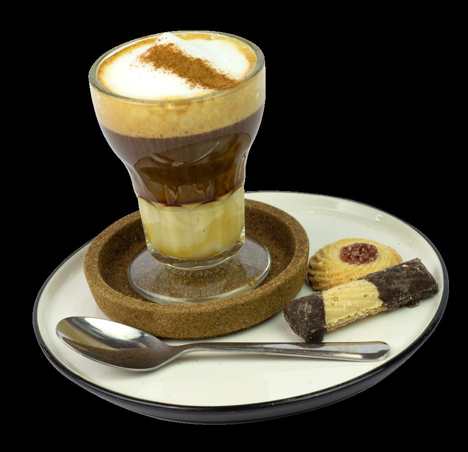 elegante vaso de café con galleta