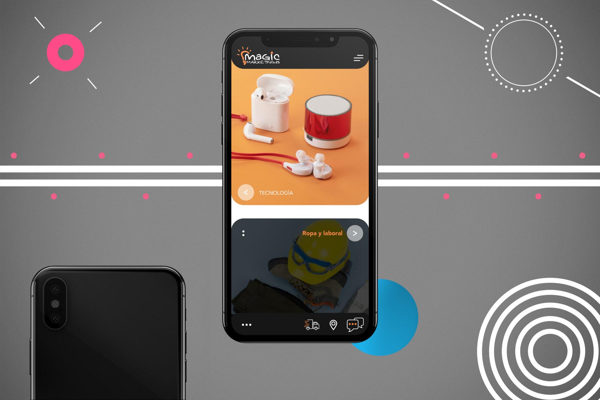 Fotografía de producto de diseño de sitio web móvil adaptativo para una empresa de marketing en Murcia.