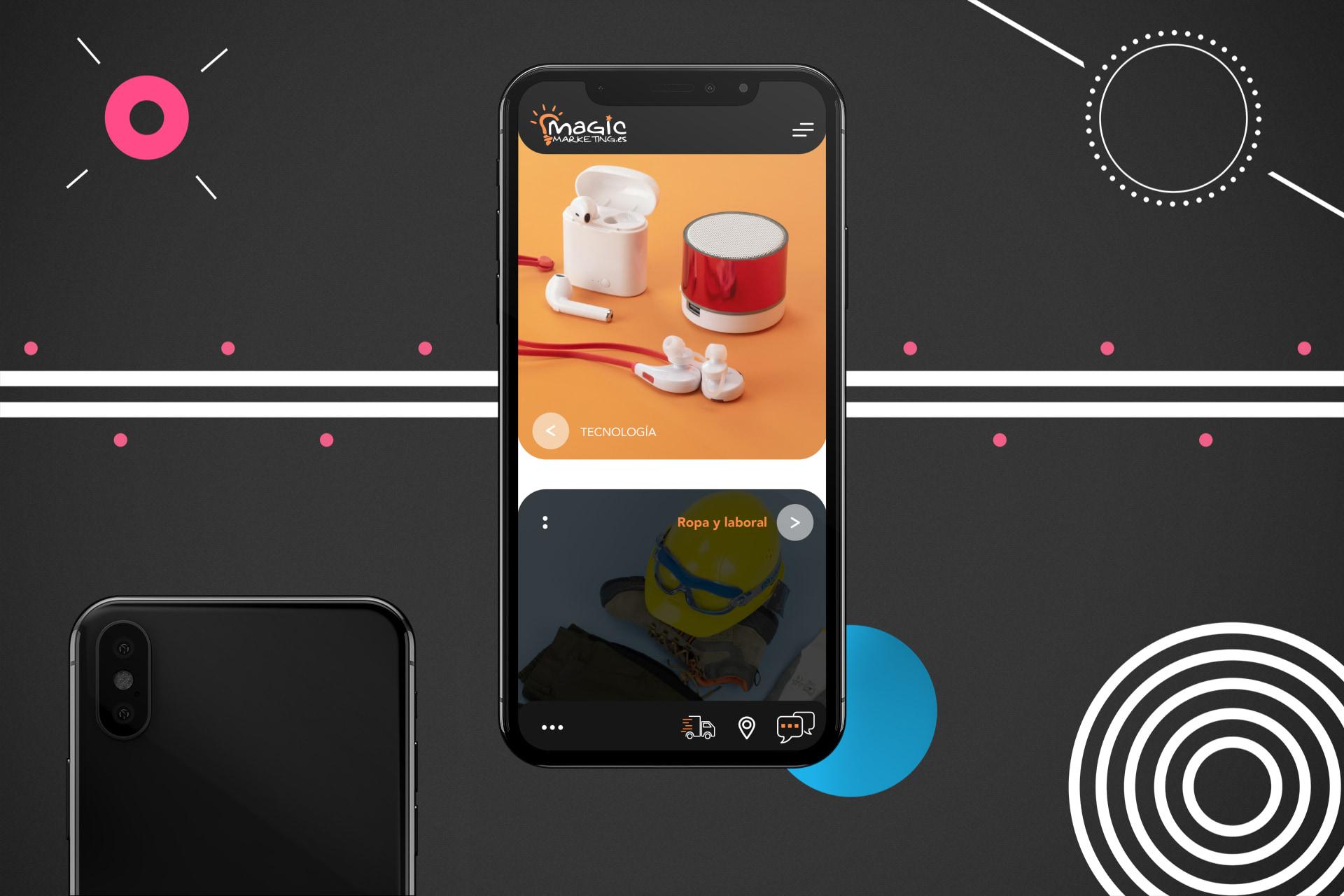 diseño de página web móvil adaptable con fotografía de productos a medida de productos tecnológicos