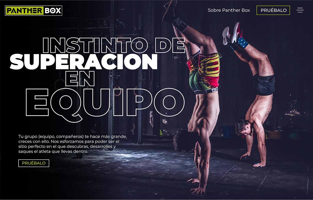 Diseño moderno de página web de gimnasio con dos hombres caminando sobre las manos