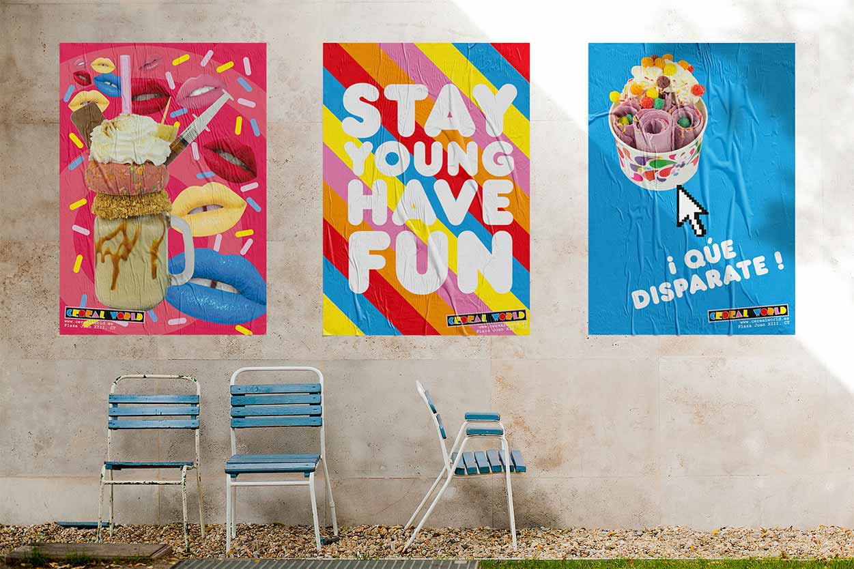 tríptico de coloridos carteles publicitarios en la pared exterior
