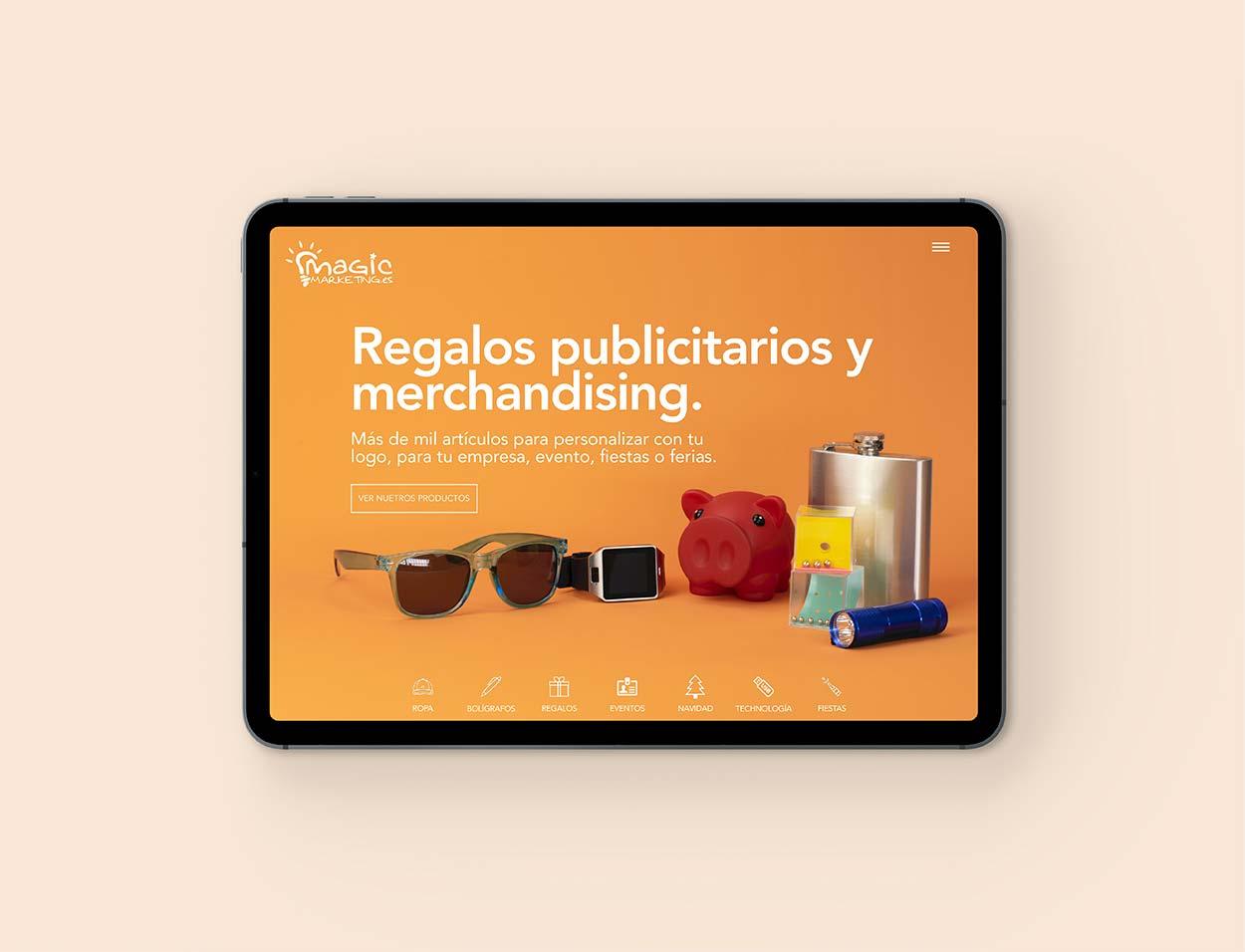Diseño de página web en ipad con fotografía de producto para una empresa de marketing en Murcia.