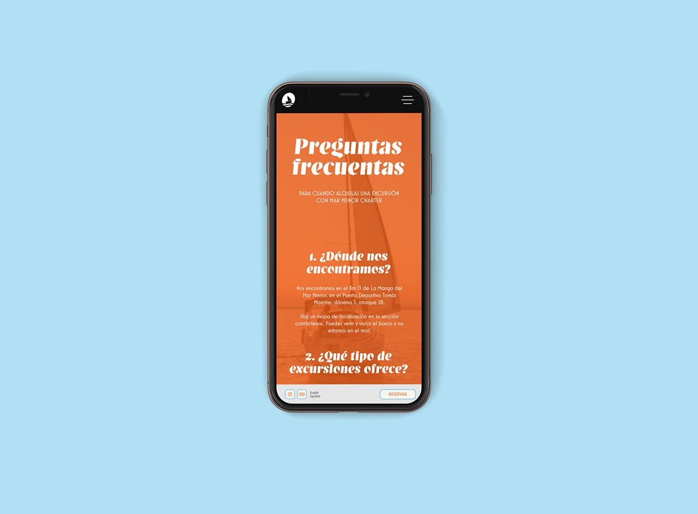 Diseño moderno de páginas web en dispositivos móviles para una empresa de barcos en La Manga
