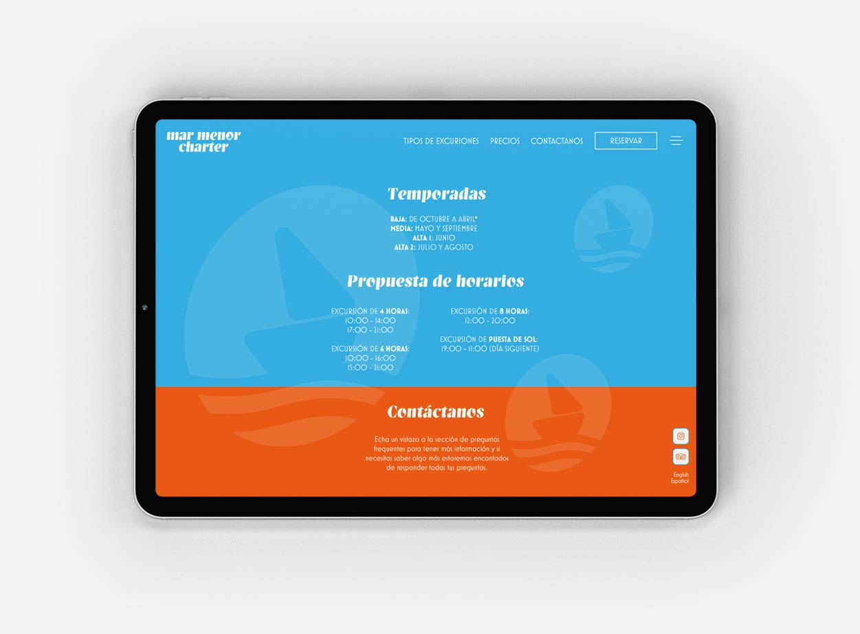 Diseño web contemporáneo en ipad para una nueva empresa en Murcia.