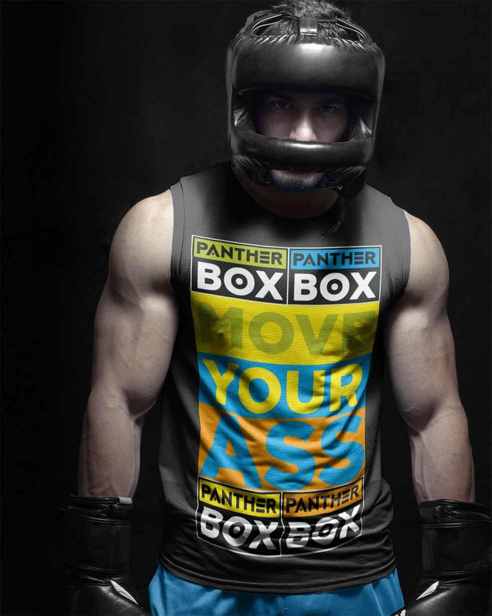 Boxer de hombre musculoso con diseño de camiseta brillante para gimnasio