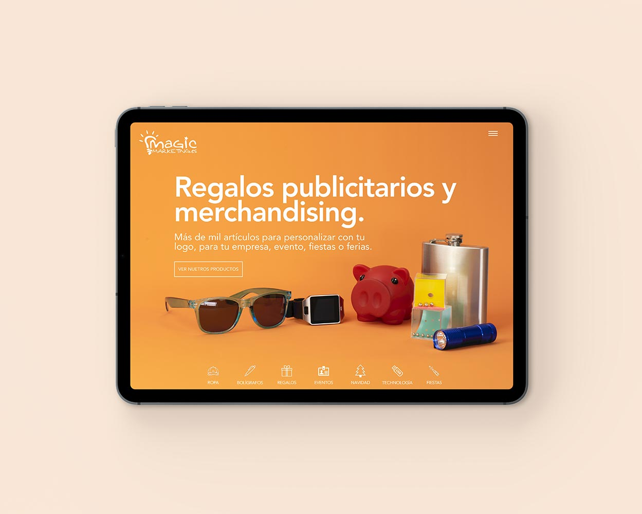 fotografía del producto de diseño del sitio web que se muestra en ipad pro