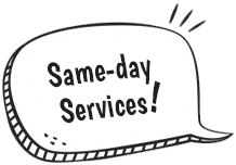same day service speech bubble