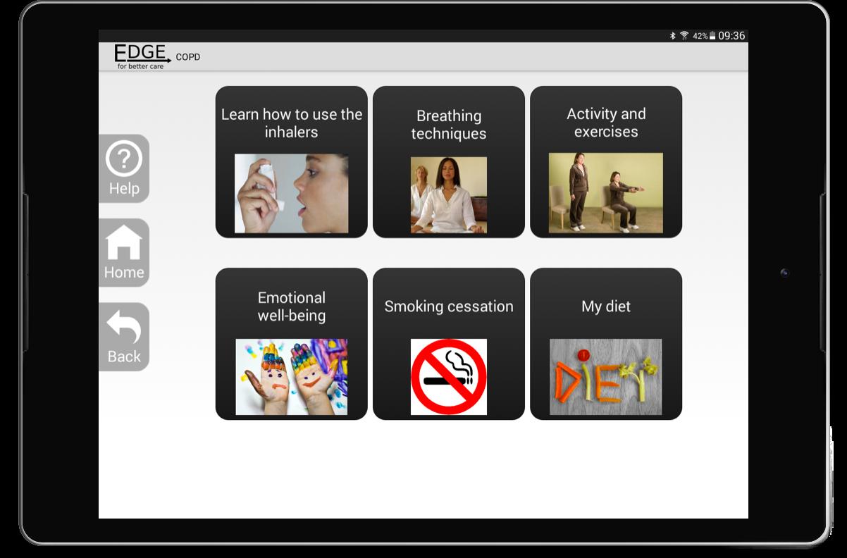 Tablet showing EDGE screenshot