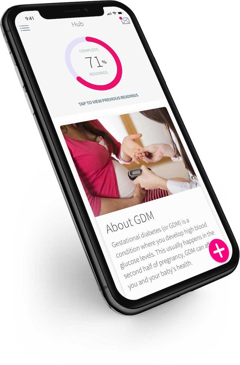 GDm-Health app on an iPhone X