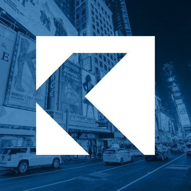 City street with large K logo over it