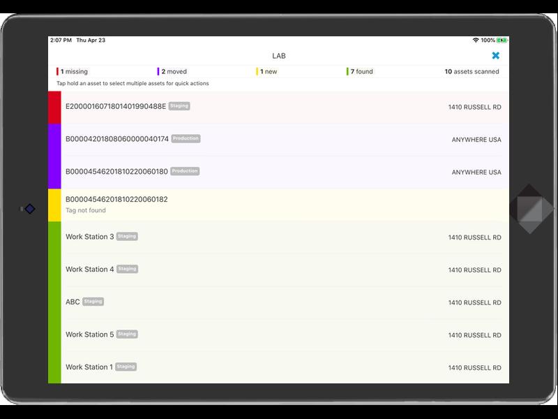 Asset Vue software running on a tablet