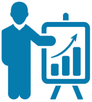 graphic image of person pointing to a graph with an arrow going up