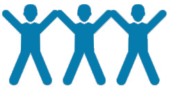 graphic image of three people with both arms in the air