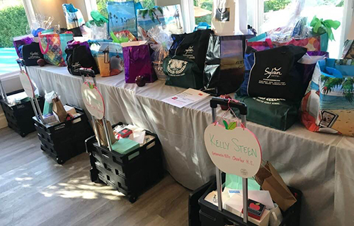 Picture of the prize table  at the event in 2019