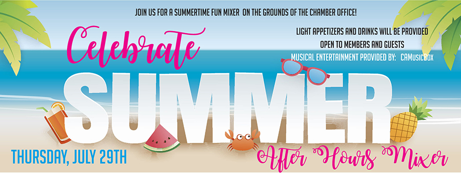 image., A banner for 'Fun in the sun' mixer at the chamber office.