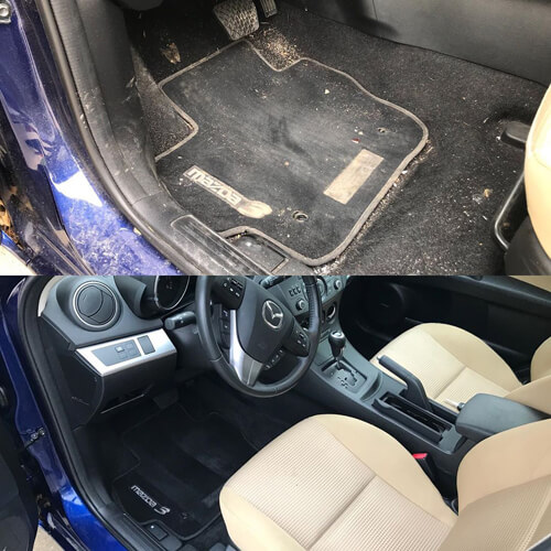 Car interior before and after